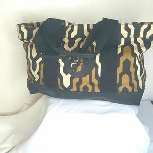 Tory Burch brown, tan & black large tote bag